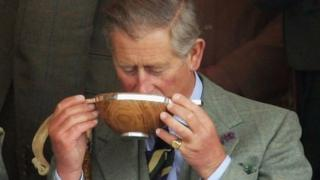 Prince Charles takes a drink of whisky from a Quaich during the 2005 Mey Games