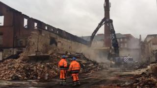 Factory fire aftermath