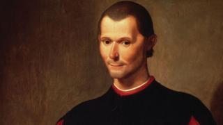 Detalle de retrato póstumo de Nicolás Maquiavelo por Santi di Tito.