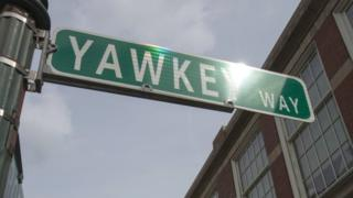 The Yawkey Way street sign outside Fenway Park in Boston