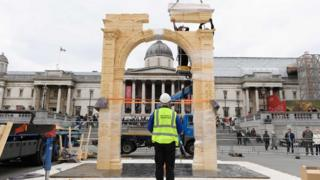 The replica of the Arch of Triumph being constructed in Trafalgar Square