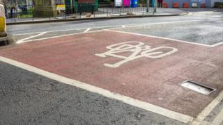 Cycle lane in Edinburgh
