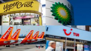 Logos of Upper Crust, Easyjet, BP and Tui