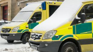 Ambulances in the snow