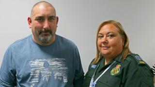 Richard Gaman and emergency call handler Sarah Fisher