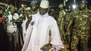 Gambia's Yahya Jammeh pictured in 24 November 2016 when he was still president