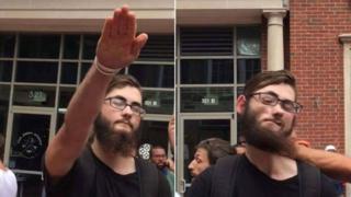 Beyazların üstünlüğünü savunan gruptaki bazı kişiler Nazi selamı verdi.
