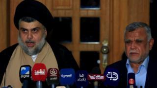 مقتدى الصدر وهادي العامري في مؤتمر صحفي