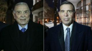 Jose Maria Marin and Juan Ángel Napout in a collage image from photographs outside court on 21 December