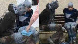 Pictures shared on social media appear to show James White and Alexis Guesto tied up and covered in paint