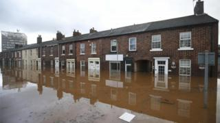 Flooded street in Carlisle