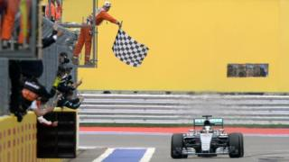 Lewis Hamilton crossing the finish line