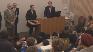 Debra Humphris addresses students at the University of Brighton's Hastings campus