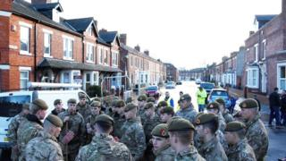 British soldiers getting briefed in Carlisle street