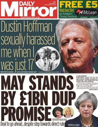 Daily Mirror front page 02/11/17