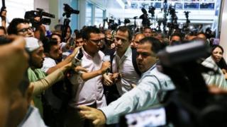 Juan Guaido arrives at the Simon Bolivar international airport in Maiquetia, Venezuela February 11, 2020.