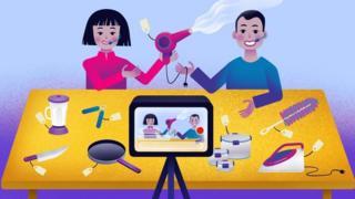 internet marketing illustration of live-streaming sales session