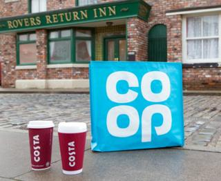Co-op and Costa Coffee items on Coronation Street