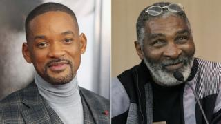 Left to right: Actor Will Smith and Richard Williams, tennis coach and the father of Venus and Serena Williams
