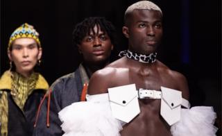 "Model presents creations by Floyd Avenue, Rich Mnisi, CLive Rundle and Viviers of the show ""Fashion talents from South Africa"" during the Mercedes-Benz Fashion Week in Berlin, Germany, 13 January 2020"