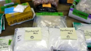 Plastic bags of Fentanyl displayed at the US Customs and Border Protection area at the International Mail Facility at O'Hare International Airport in Chicago, Illinois, November 29, 2017