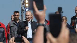 Vladimir Putin at the Kerch Strait Bridge