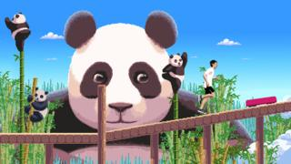 Screengrab of game showing pandas and runner