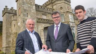 Mick Boyle, Jaramas Investments NI Ltd., Alastair Hamilton, Invest NI, and Mark Donohoe, Project Manager, with plans at Killeavy Castle