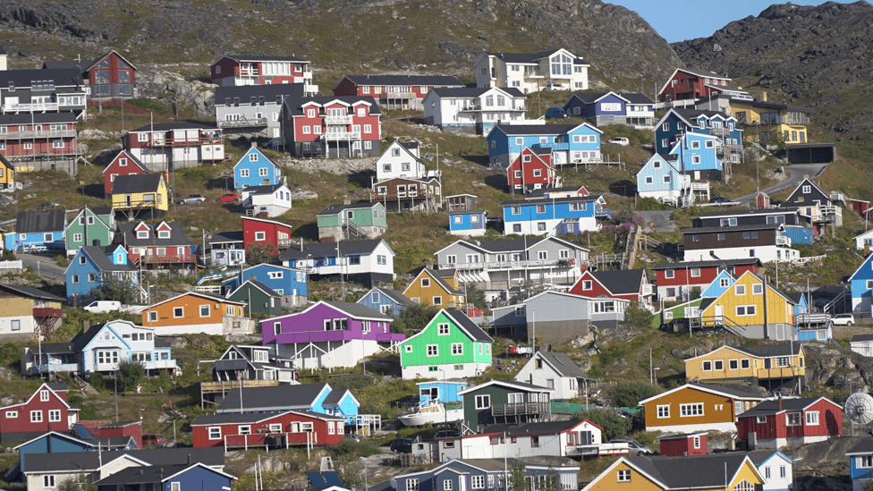 Houses in Narsaq, southern Greenland