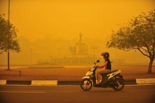 An Indonesian woman rides a motorbike amid thick yellow haze in Palangkaraya, Central Kalimantan province, Indonesia, 23 October 2015