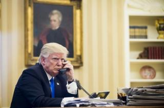 US President Donald Trump speaks on the phone with Australian Prime Minister Malcolm Turnbull