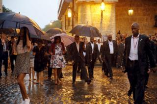 The Obamas later began a walkabout in historic Old Havana.