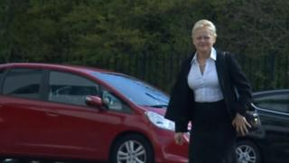 Denise Aubrey arriving at the tribunal