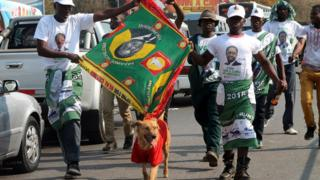 Supporters of Zambia's President-elect Edgar Lungu celebrate in Lusaka, Zambia - Monday 15 August 2016