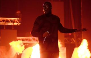 Stormzy performs on stage at the MOBO Awards at First Direct Arena Leeds on November 29, 2017 in Leeds, England.