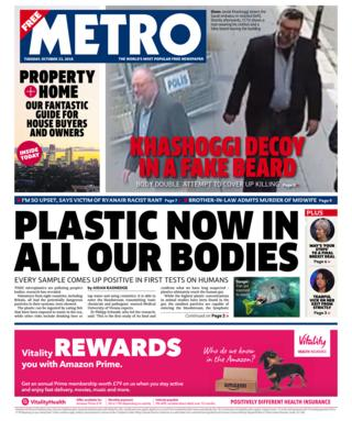 Metro front page - 23/10/18
