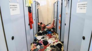 Clothes are discarded in university bathrooms