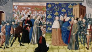 Средневековый манускрипт: Ричард II отдает корону Генри Болингброку
