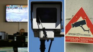 The CCTV control room, a CCTV camera and a CCTV camera warning sign