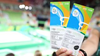 Spectator holding tickets for Rio 2016