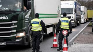 German border guards close the frontier with Denmark