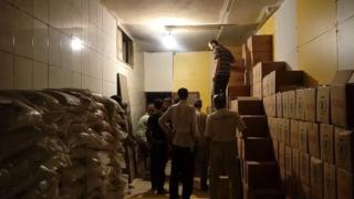 Boxes of aid delivered to Darayya in Syria - 9 June 2016