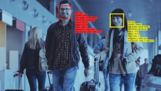 Two people on facial recognition cameras