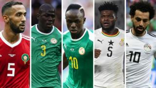 Medhi Benatia (Morocco), Kalidou Koulibaly (Senegal), Sadio Mane (Senegal), Thomas Partey (Ghana) na Mohamed Salah (Egypt)