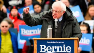 US Senator Bernie Sanders speaks during a rally to kick off his 2020 US presidential campaign