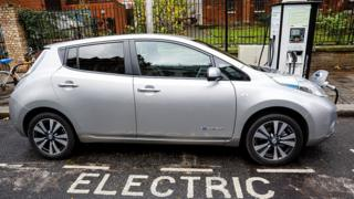 Electric car at charging point