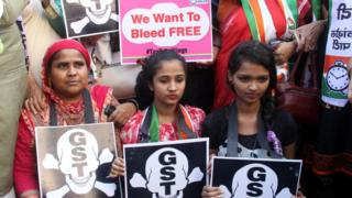 The women's wing of the NCP held a protest outside the Sales Tax office, demanding exclusion of sanitary napkins from the GST ambit and to make it tax free at Mazgaon, on January 18, 2018 in Mumbai, India