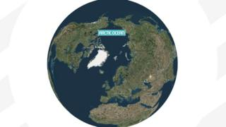 Image shows Earth with the Arctic Ocean labelled