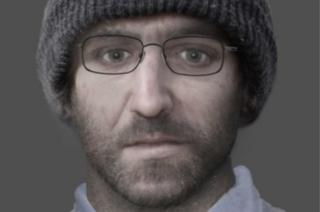 The facial reconstruction of a man whose body was found in a barn