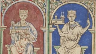 Миниатюра XII века: Генрих I и Стефан Блуасский.